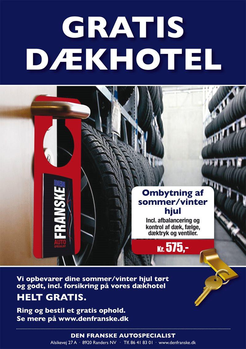 Gratis dækhotel - få opbevaret dine vinter- eller sommerdæk gratis i Randers hos den franske autospecialist